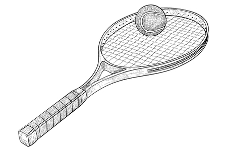 Tennis racket with a ball. Hand drawn sketch. Vector illustration isolated on white background