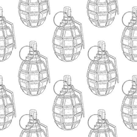 Military grenade. Hand drawn sketch. Seamless pattern background. Vector illustration Illustration