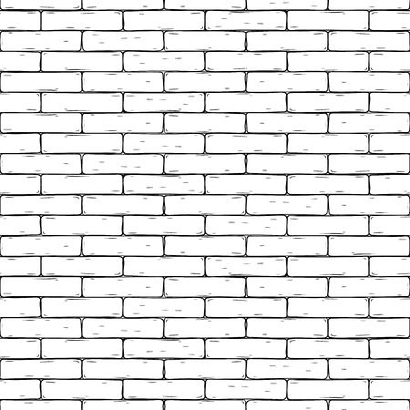Muro di mattoni. Fondo senza cuciture disegnato a mano. Illustrazione vettoriale Vettoriali