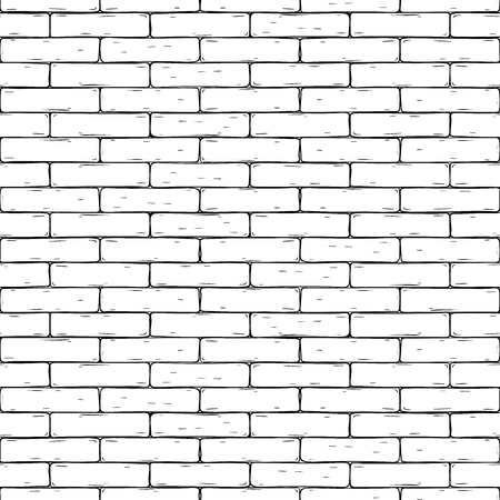 Brick wall. Hand drawn seamless background. Vector illustration Illustration
