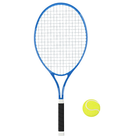 Tennis racket with yellow ball. 3d vector illustration isolated on white background Illustration
