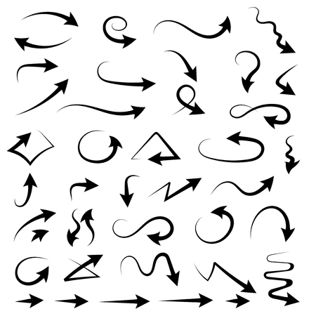Arrows. Hand drawn black signs. Vector illustration isolated on white background