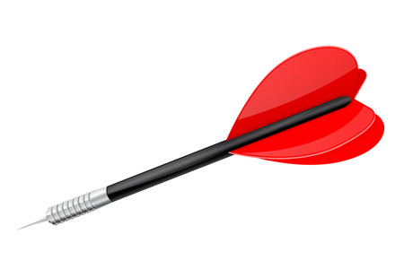 Red dart with steel tip. Vector 3d illustration isolated on white background