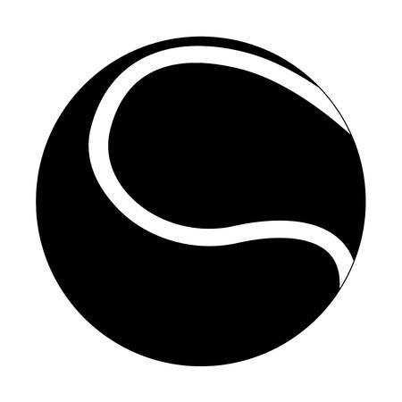 Tennis ball. Black flat icon. Vector illustration isolated on white background Illustration