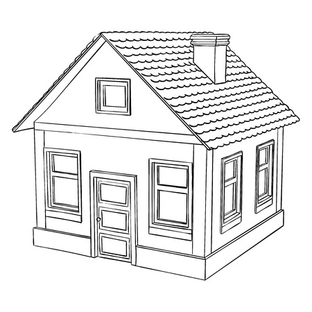 House. Hand drawn. Vector illustration isolated on white background