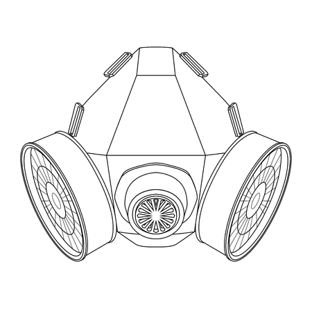 Gas mask. Outline drawing. Vector illustration isolated on white background