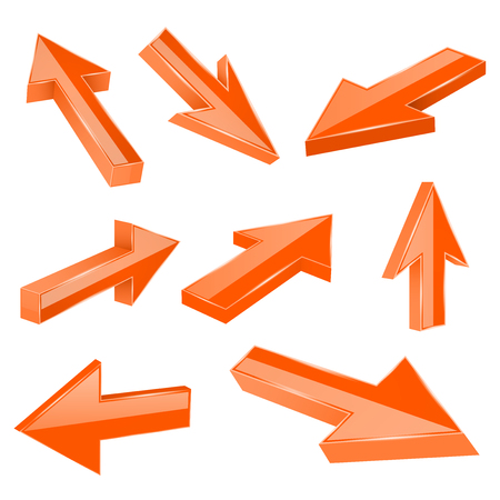 Orange straight 3d arrows. Vector illustration isolated on white background