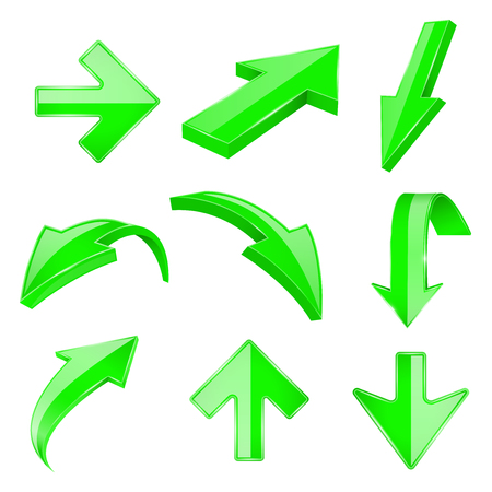 Green 3d shiny arrows. Up and down. Vector illustration isolated on white background Illustration