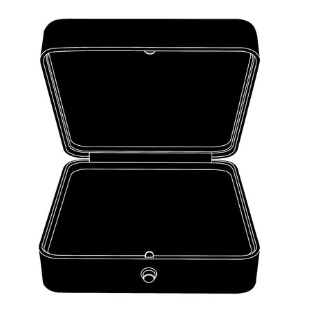 Empty open jewelry box. Black outline icon. Vector illustration isolated on white background Illustration