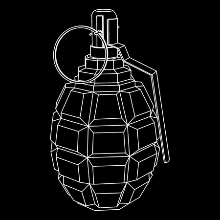 Military hand grenade. Black outline icon. Vector illustration isolated on white background