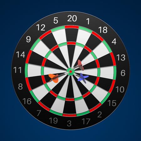 Dartboard with darts. 3d rendering illustration on blue background