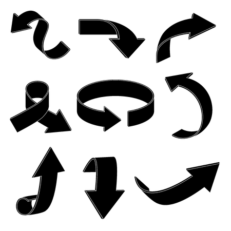 Arrows. Black silhouette signs. Vector illustration isolated on white background Иллюстрация