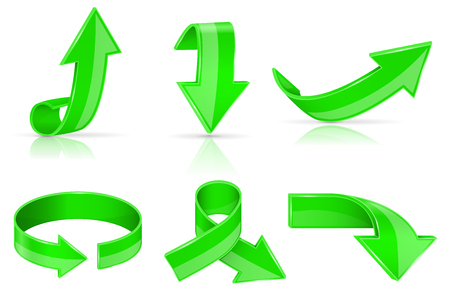 Arrows. Green shiny signs. Vector 3d illustration isolated on white background Иллюстрация