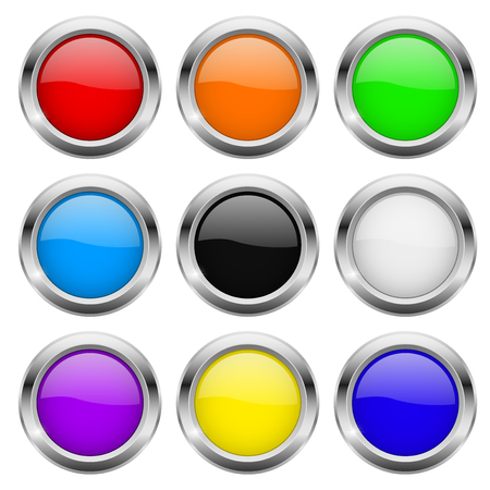 Round buttons. Glass colored icons with chrome frame. Vector 3d illustration Vectores