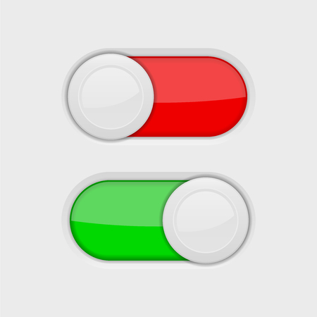 Toggle switch buttons. On and Off red and green switch. Vector 3d illustration