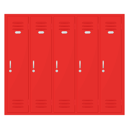 Safety deposit boxes. Red lockers. Vector illustration