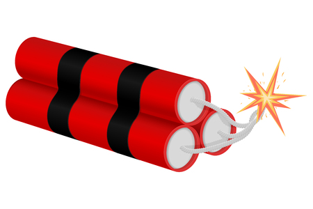 Dynamite expoling. Vector 3d illustration isolated on white background Illustration