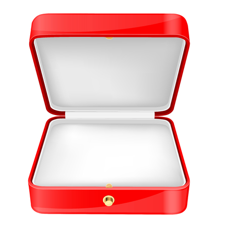 Red jewelry box with white velvet lining. Vector 3d illustration isolated on white background