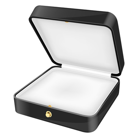 Jewelry box with white velvet lining. Vector 3d illustration isolated on white background  イラスト・ベクター素材