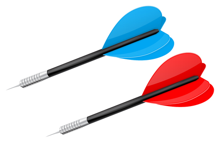 Darts with steel tip. Red and blue. Vector 3d illustration isolated on white background
