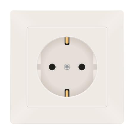 Power socket. European Type F socket. Vector 3d illustration isolated on white background Stock Illustratie