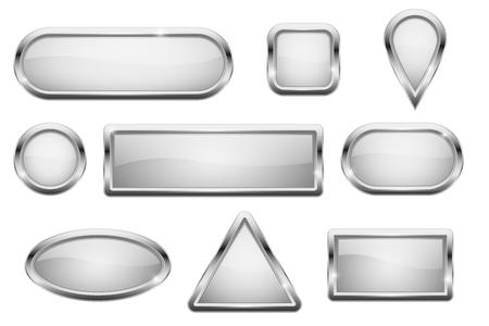 Boutons en verre blanc avec cadre chromé Vecteurs