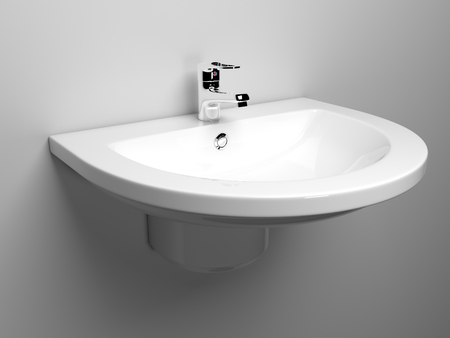 White bathroom sink with chrome faucet
