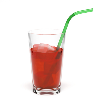 Red drink in a glass. With ice and straw Stock Photo