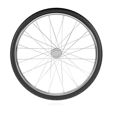 Roue de bicyclette. Illustration de rendu 3D isolée