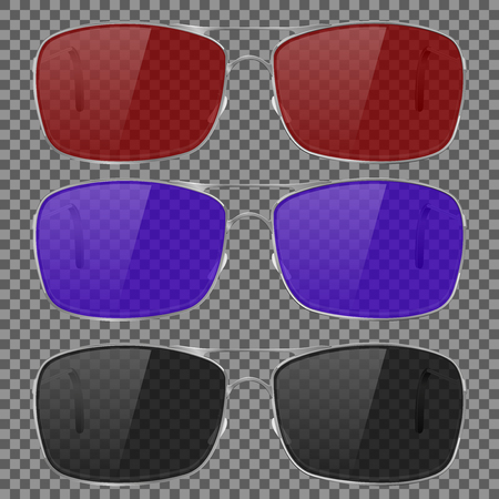Sunglasses with colored glass. Isolated on transparent background Çizim