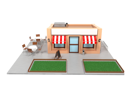 Market store complete exterior design. Urban scene. 3d rendering illustration