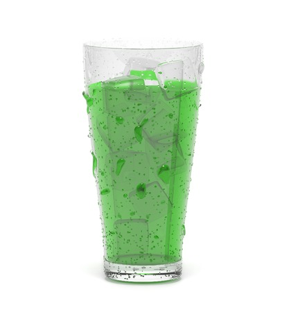 Green drink with ice. 3d rendering illustration isolated