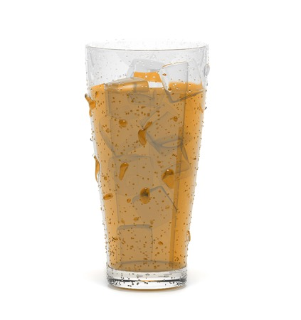Brown cold cocktail drink with ice. 3d rendering illustration isolated
