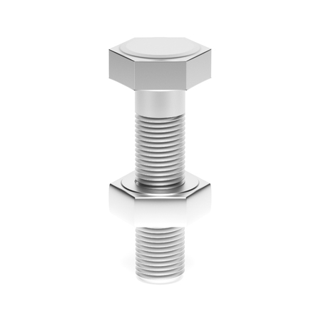 Metal bolt with nut. 3d rendering illustration isolated on white background