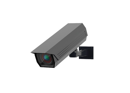CCTV security camera. Black surveillance system. 3d rendering illustration isolated on white background