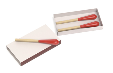Matchsticks in open box. 3d rendering illustration isolated