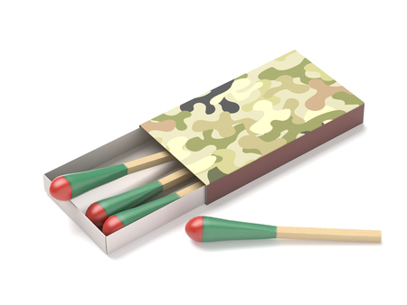 Matchsticks in a box with camouflage packaging. 3d rendering illustration isolated Reklamní fotografie
