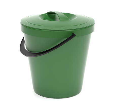 Green plastic bucket with closed lid. 3d rendering illustration isolated
