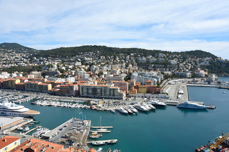 View on Nice port in France with yachts and boats