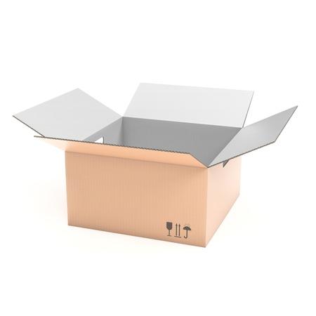 Wellpappe-Box öffnen. 3D-Rendering-Darstellung isoliert