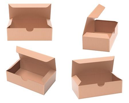 Kartonnen papieren dozen. Set bruine open dozen. 3D-rendering illustratie geïsoleerd