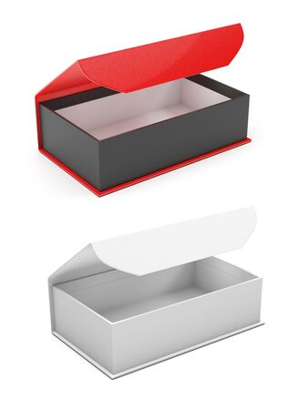 Gift boxes. Open jewelry boxes with magnetic clasp. 3d rendering illustration isolated Stock Photo