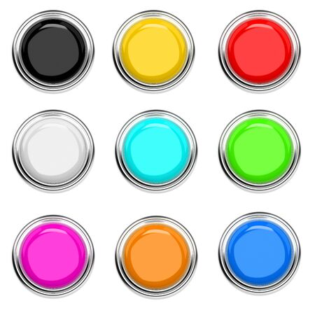 Push buttons with metal frame. Colored collection, top view. 3d rendering illustration isolated