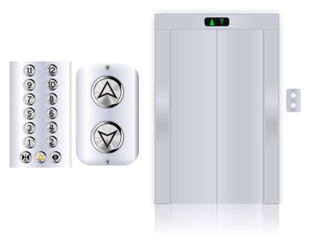 Elevator with design elements. Metal shields