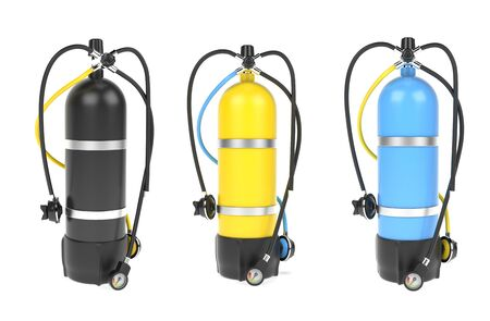 Scuba diving air tank with regulator set. Colored set of cylinders. 3d rendering illustration isolated