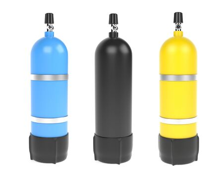 Diving air cylinders. 3d rendering illustration isolated
