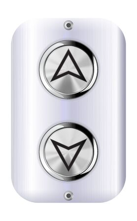 Elevator buttons. Up and down. Metal shield. Vector 3d illustration 向量圖像