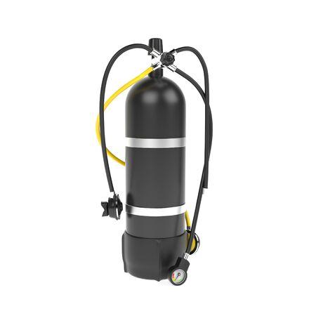 Scuba diving air tank with regulator set. 3d rendering illustration Stock Photo