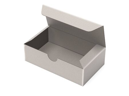 Paper cardboard box template. Gray empty carton. 3d rendering illustration isolated on white background
