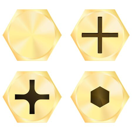 Screw heads. Golden mechanical parts. Vector illustration isolated on white background